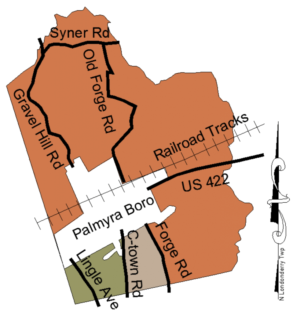 Map of North Londonderry Township, sectioned areas for Leaf pick-up